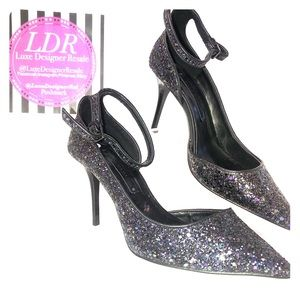 Zara Black Glittery Pointed Toe Pumps- New!
